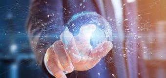 L'homme d'affaires contenant des données du rendu 3d mettent à la terre le globe Photographie stock libre de droits