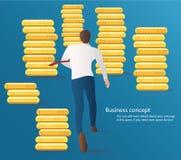 L'homme d'affaires courant avec le dollar invente le vecteur Illustration de concept d'affaires Photos libres de droits