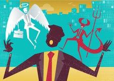 L'homme d'affaires décide entre le le bien et le mal Image stock