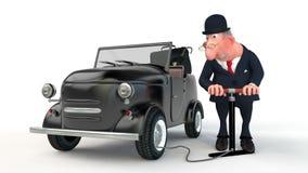 L'homme d'affaires 3D coûte près de la voiture.