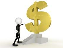l'homme d'affaires 3d près de obtiennent le symbole dollar dans les escaliers Photos stock
