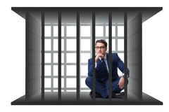 L'homme d'affaires dans la cage d'isolement sur le blanc Image stock