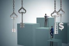 L'homme d'affaires dans la clé au concept financier de succès Image stock