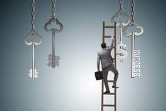 L'homme d'affaires dans la clé au concept financier de succès Images stock