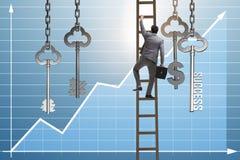 L'homme d'affaires dans la clé au concept financier de succès Photographie stock libre de droits