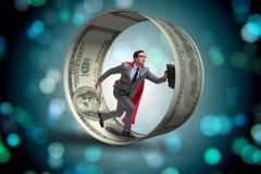 L'homme d'affaires dans la roue de hamster chassant des dollars Photographie stock