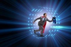 L'homme d'affaires dans la roue de hamster chassant des dollars Photos stock