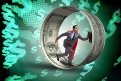 L'homme d'affaires dans la roue de hamster chassant des dollars Photo stock