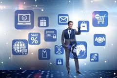 L'homme d'affaires dans le commerce en ligne et le concept de achat illustration de vecteur