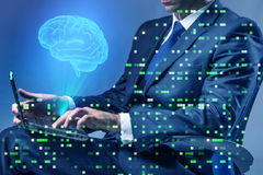 L'homme d'affaires dans le concept d'intelligence artificielle image stock