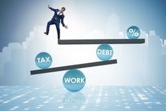 L'homme d'affaires dans le concept d'affaires de dette et d'impôts illustration de vecteur