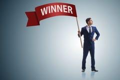 L'homme d'affaires dans le concept d'affaires de gagnant Photographie stock