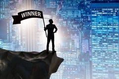 L'homme d'affaires dans le concept d'affaires de gagnant Photo libre de droits
