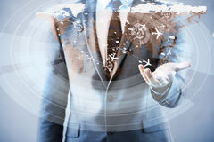 L'homme d'affaires dans le concept de transport du monde Image libre de droits