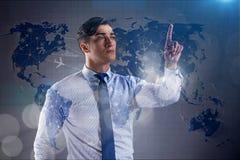 L'homme d'affaires dans le concept de transport du monde Photographie stock libre de droits