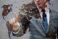 L'homme d'affaires dans le concept de transport du monde Images stock