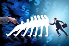 L'homme d'affaires dans le concept d'affaires d'effet de domino Images libres de droits