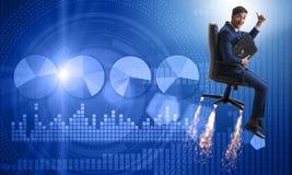 L'homme d'affaires dans le concept financier de croissance Photos stock