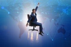 L'homme d'affaires dans le concept global de croissance Photo stock