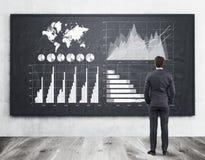 L'homme d'affaires dans le costume examine trois graphiques sur un tableau Images stock