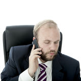 L'homme d'affaires de barbe parle au téléphone portable Photos stock