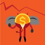 L'homme d'affaires de pièce de monnaie de diable représentent graphiquement vers le bas Illustration de Vecteur