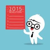 L'homme d'affaires de sourire avec 2015 résolutions de nouvelle année énumèrent illustration de vecteur