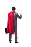 L'homme d'affaires de super héros d'isolement sur le fond blanc Photos stock
