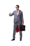 L'homme d'affaires de super héros d'isolement sur le fond blanc Photo libre de droits