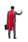 L'homme d'affaires de super héros d'isolement sur le fond blanc Photo stock