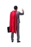 L'homme d'affaires de super héros d'isolement sur le fond blanc Images libres de droits
