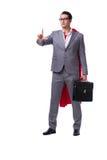 L'homme d'affaires de super héros d'isolement sur le fond blanc Photographie stock libre de droits
