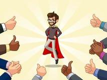 L'homme d'affaires de super héros de hippie avec beaucoup de pouces se lèvent et les mains de applaudissement Photo stock