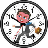 L'homme d'affaires Deadline Clock Running a isolé Images stock