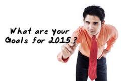 L'homme d'affaires demandent les buts en 2015 Photo libre de droits
