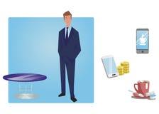 L'homme d'affaires, directeur dans un costume se tient avec des mains dans des poches les graphismes des affaires cs2 ENV d'AI co Photo stock