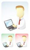 L'homme d'affaires donne des résultats dans l'ordinateur portatif Photos libres de droits