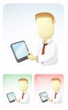 L'homme d'affaires donne des résultats dans la tablette Photos libres de droits