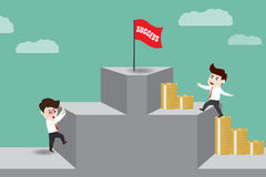 L'homme d'affaires donnent l'argent mené au succès Image stock