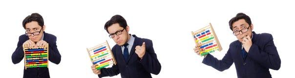 L'homme d'affaires drôle avec l'abaque d'isolement sur le blanc Photographie stock libre de droits