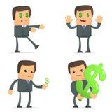 L'homme d'affaires drôle de dessin animé aime l'argent illustration stock