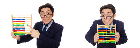 L'homme d'affaires drôle avec l'abaque d'isolement sur le blanc Image stock