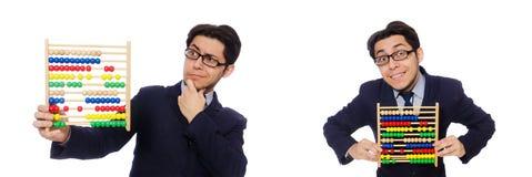 L'homme d'affaires drôle avec l'abaque d'isolement sur le blanc Photographie stock