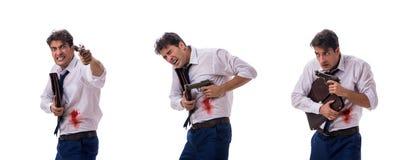 L'homme d'affaires a enroulé dans le combat d'arme à feu d'isolement sur le blanc photographie stock libre de droits