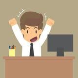 L'homme d'affaires est heureux avec le travail Image libre de droits