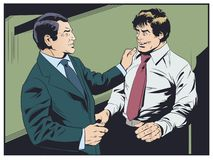 L'homme d'affaires félicite le collègue Le patron félicite le subalterne illustration libre de droits