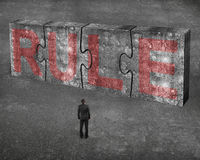 L'homme d'affaires faisant face au mot rouge de règle sur le béton énorme déconcerte le connec Photographie stock