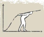 L'homme d'affaires grandissent la ligne de graphique Photos libres de droits