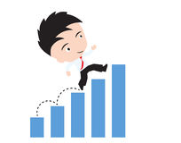 L'homme d'affaires heureux de marcher et courant au-dessus de la tendance d'histogramme ou de graphique, route au concept de succ Photo libre de droits