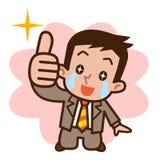 L'homme d'affaires heureux a des larmes illustration de vecteur